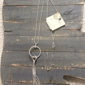NWT Silver chain with tassel, adjustable 31-34""